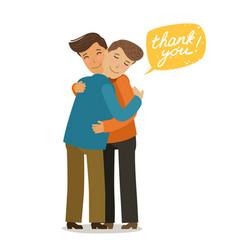 Thank you hugs banner friendly meeting concept vector