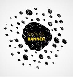 Abstract black scribble dots circle frame banner vector image