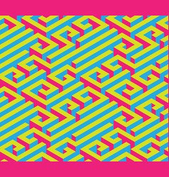 colorful isometric maze seamless ornament bright vector image