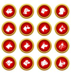 dog icon red circle set vector image