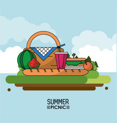 Heaven background poster of summer picnic with vector