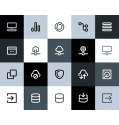 Hosting and wireless network icons Flat vector image vector image