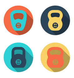 kettlebell flat icons isolated on white background vector image vector image