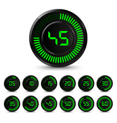 digital black green timer with five minutes vector image