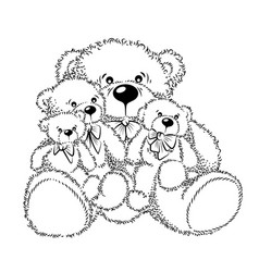 Drawing teddy bears with bow vector