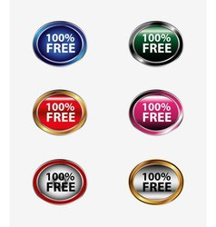 100 free sign button set vector image