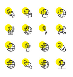 16 globe icons vector image