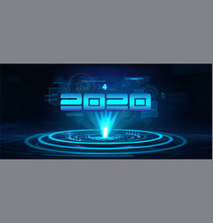 2020 technology banner happy new year concept vector image