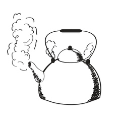 A boiling kettle and steam vector