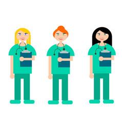 A set of of three nurses vector