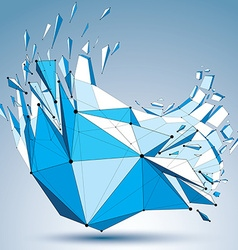 Abstract asymmetric blue low poly wrecked object vector image