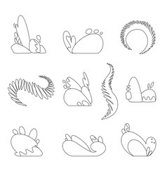 abstract object set 2d coloring book vector image