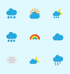 air icons flat style set with sun shower hail vector image