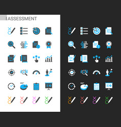 Assessment icons light and dark theme vector