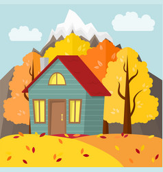 Autumn mountain landscape country house in the vector
