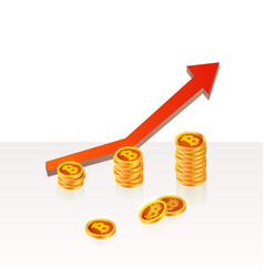 bitcoin up growth concept bitcoin revenue stacks vector image