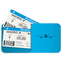 Blue airline tickets or boarding pass vector