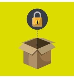 Box padlock data secure vector