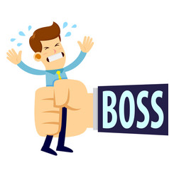 Businessman being squeezed by boss big hand vector