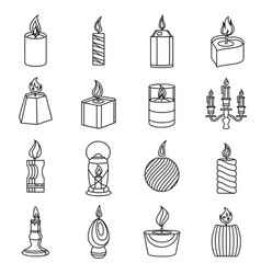 Candle forms icons set flame light outline style vector