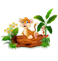 Cartoon baby cheetah on tree trunk vector