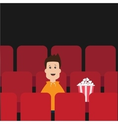 Cartoon boy sitting in movie theater Film show vector image