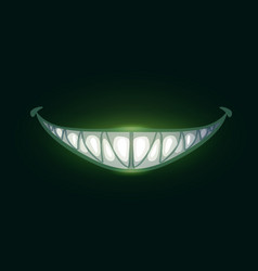 Cartoon scary evil smile with big sharp teeth vector