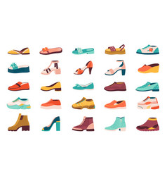 Cartoon shoes flat autumn footwear running shoes vector