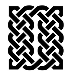 Celtic knotted rectangle symbol in black vector