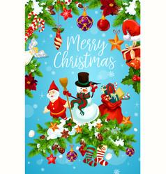 Christmas and new year greeting card of santa gift vector