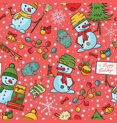 christmas cartoon snowmen with decorations vector image