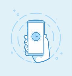 clock icon on smartphone screen vector image