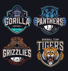 colorful sports teams logotypes set vector image