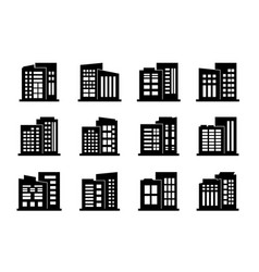 Company icons and black buildings set isolated vector