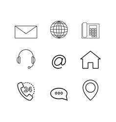 contacts set online icons vector image