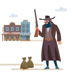 Cowboy robbed a bank old wild west cartoon vector