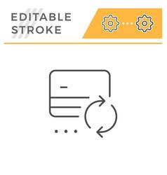 credit card exchange editable stroke line icon vector image
