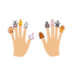 cute cartoon finger puppet animals collection on vector image