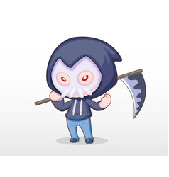 Cute style boy dressing in grim reaper costume ill vector