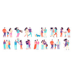 Different families arab caucasian mixed couples vector