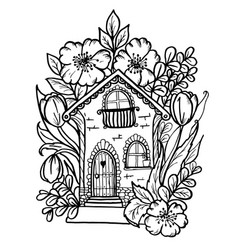 doodle cute house in colors black outline vector image