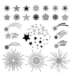 Doodle sketch night star set vector