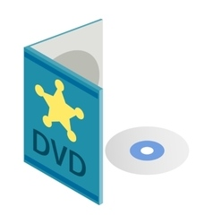 DVD disk with box isometric 3d icon vector