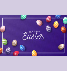 easter holiday background with 3d easter painted vector image
