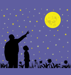 Father is showing full moon to his amazed kid vector
