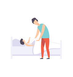 father putting his kid to bed dad taking care of vector image