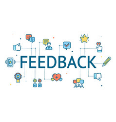 feedback concept with color thin line icon vector image