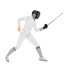 Fencing player sword fighting fence battle vector