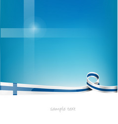 Finland ribbon flag on blue sky background vector