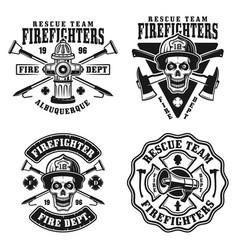 fire department set four emblems vector image